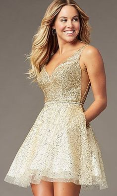 Shop glitter mesh short sparkly homecoming dresses at Simply Dresses. Short hoco party dresses under Gold Bridesmaid Dresses, Hoco Dresses, Prom Party Dresses, Gold Party Dress, Sparkly Homecoming Dresses, Gold Dama Dresses, Sexy Dresses, Short Sparkly Dresses, Formal Dresses