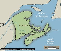 Acadian fatherland: Acadia (French Acadie), French colony in northeastern North America between 1604 and The origins of the name Acadia have been traced to Mi'kmaq words and to the Latin word arcadia (a rustic paradise). Samuel De Champlain, Canadian History, American History, Cajun French, Acadie, Port Royal, Latin Words, New Brunswick, We Are The World