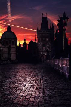Mystical sunrise over spires of Old Town in Prague, Czechia