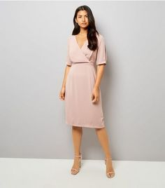 Mid Pink Wrap Front 1/2 Sleeve Midi Dress  | New Look