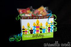 Birthday Treat Box- Large  $25.00 included 3 small packages of assorted Allan gummy candy, 1 package of Gobstoppers, 1 Donini specialty chocolate bar, and 1 package of Double Bubble gum. Gift box comes wrapped with a Happy Birthday message of your choice.  http://www.caramellaevents.com/Online-Store.html