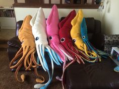 Custom-made squid body pillows. Four feet and eight feet long! Gimme.