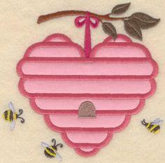 Heart Beehive Applique Embroidery Design | AnnTheGran