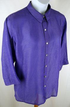 CHICOS Purple Linen Silk Oversize Tunic Shirt Jacket Blouse Top Size 3 L 16 18 #Chicos #ButtonDownShirt #Casual