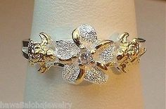9/7MM SILVER HAWAIIAN 14K PLUMERIA HONU CZ RING 3-10.5