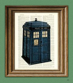"Dictionary Art Print - Dr. Who Tardis British Blue Police BOX Booth - Printed on Recycled Vintage Dictionary Paper - 8.5""x11"" - Mixed Media Poster on Vintage Dictionary Page CollageOrama http://smile.amazon.com/dp/B00MB0F9AS/ref=cm_sw_r_pi_dp_nUXdub0Y5M8P2"