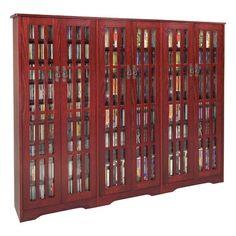 Leslie Dame M-1431DC Glass Door High Capacity Multimedia Cabinet Finish: Dark Cherry