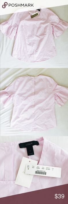 NWT J. Crew Pink Button Back Bell Sleeve Top *CONSIDERING OFFERS! No trades.* brand new with tags J. Crew retail (not factory) button back ruffle bell sleeve top in light pink. Very lightweight, 100% cotton and machine washable. Original product listing at https://www.jcrew.com/p/g2264 J. Crew Tops Blouses