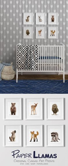 Woodland nursery art for an adventure explorer camping nursery. Adorable baby animals for modern gender neutral nursery decor ideas. #rusticcampingnursery #bluegreynursery #woodlandanimals #babyanimalart