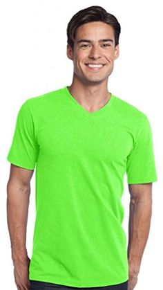 District Young Men's V-Neck Short Sleeve Concert T-Shirt_Neon Green_M District