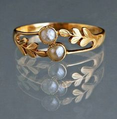 Edwardian ring with pearls and gold, ca. 1905 (I don't like yellow gold but … Edwardian ring with pearls and gold, ca. 1905 (I don't like yellow gold but this is lovely. India Jewelry, Gold Jewelry, Jewelery, Jewelry Accessories, Fine Jewelry, Jewelry Ideas, Jewelry Rings, Gold Earrings, Cheap Jewelry