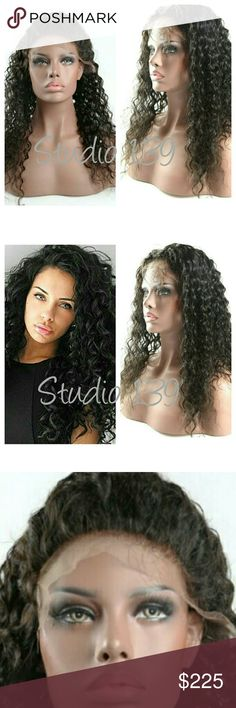Sexy Human hair lace front wig with Baby Hair Curly Human Hair Lace Front Wigs  Brazilian Virgin Loose Deep Curly Wig with Baby Hair  18Inch Accessories Hair Accessories