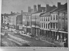 1850 - Earliest known Louisville photograph shows north side of Main Street approaching St. :: Images of Kentucky and Environs, University of Louisville Photographic Archives. University Of Louisville, Louisville Kentucky, Old Pictures, Old Photos, Vintage Pictures, Louisville Things To Do, 4th Street, Main Street, Appalachian People