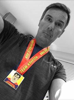 A nicely photoshopped photo of our Team Krypton Virtual Race Finisher really showing the colours of our medal!