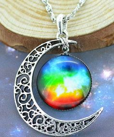 Necklace Glass Galaxy Lovely fashion Pendant Silver Chain Moon Sliver Pendant   #Pendant