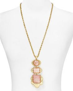 """Carolee Faceted Stone Drop Necklace, 28"""""""