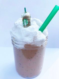 Slime, Mocha Frozen cappuccino, w/Charm Coffee Scented, Thick Slime, White Cloud Cream Topping Stretchy Slime Shop ASMR Popular Best Seller - DIY Crafts Le Slime, Slimy Slime, Slime Kit, Starbucks Slime, Starbucks Coffee, Iced Coffee, Coffee Drinks, Slime Containers, Popular Slime