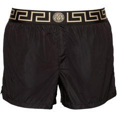 Versace Underwear Men Logo Nylon Swim Shorts ($230) ❤ liked on Polyvore featuring men's fashion, men's clothing, men's swimwear, black, men's apparel, mens clothing, mens swimwear, versace mens clothing and mens swim trunks