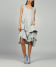Love this Gray Shelly Linen Scoop Neck Dress by 100% LIN BLANC on #zulily! #zulilyfinds