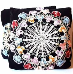 Set of 2 Vintage Decorative Throw Pillows Black Velvet with Doily Appliques #Unbranded