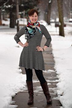 Already Pretty outfit featuring striped skater dress, Desigual scarf, glitter leggings, Frye Vera Slouch, studded wrap bracelet