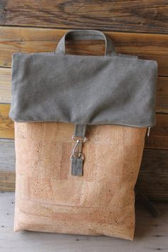 backpack bag cork/backpack unisex bag by SunbeamSantorini on Etsy Cork Fabric, Lambskin Leather, Satin Fabric, Santorini, Backpack Bags, Shoulder Strap, Satchel, Reusable Tote Bags, Backpacks