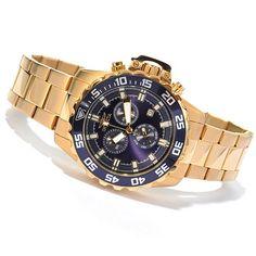 Invicta Men's Pro Diver Specialty Quartz Chronograph Bracelet Watch w/ Three-Slot Dive Case on sale at ShopHQ.com In the silvertone