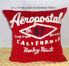 14 x 14 Aeropostale Upcycled Pillow Cover, Red and White Aeropostale T-Shirt to Pillow Cover, White Stitched Lettering, Rocky Point, CA