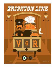 Sean Sims - 'Travel on the Brighton Line' print - Volks Railway