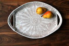 XL Handmade Pottery Platter White Lace Ceramic by FringeandFettle