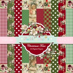 Christmas Time Instant Download Digital Paper by puddingpapers