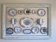 Wall Design Idea- Holland Delft plates displayed inside a shabby frame. Delft, Plate Wall Decor, Plates On Wall, Hanging Plates, Plate Display, Blue And White China, Vintage Plates, Blue Plates, White Decor