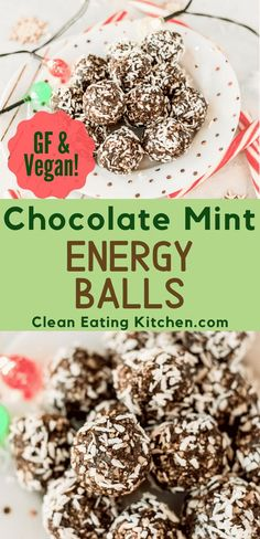 Chocolate Mint Energy Balls (Vegan) These Chocolate Peppermint Energy Balls are so easy to make, and are absolutely delicious. You are going to love this healthy cookie recipe. Vegan Healthy Snacks, Healthy Cookie Recipes, Healthy Cookies, Vegan Sweets, Paleo Recipes, Real Food Recipes, Snack Recipes, Protein Snacks, Health Recipes