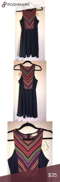 Altar'd State Dress Navy blue with lots of bright colors at the top. Has a zipper in the back. Size small. Altar'd State Dresses