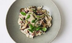 Baked rice with pancetta, mushrooms and goat's cheese