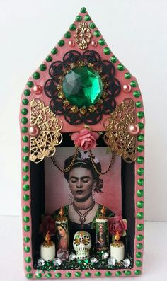 Hey, I found this really awesome Etsy listing at http://www.etsy.com/listing/165482736/vintage-pink-altered-frida-kahlo-dia-de
