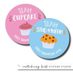Team cupcake stickers, cupcake and studmuffin stickers, gender reveal shower ideas, baby shower games baby shower favors baby shower sticker  Theres no better baby shower game than guessing the babys gender. And theres no better way to play than with these custom gender reveal stickers! Team cupcake or team stud muffin, everybody wins this game!  DETAILS These stickers are 2 round and come in sets of 24--12 of each gender. Free proofs are provided with this design.  ORDERING To order, place…