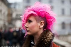 Hot pink. Shaved. CURLY!