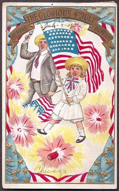 July 4th Vintage 1908 Postcard  Hurrah