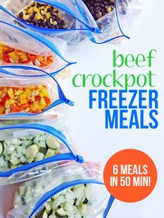 How to make six crockpot meals with ground beef in 50 minutes. I did this last time ground beef was on sale and we loved all of them! Freezer Friendly Meals, Slow Cooker Freezer Meals, Make Ahead Freezer Meals, Crock Pot Freezer, Dump Meals, Crock Pot Slow Cooker, Slow Cooker Recipes, Crockpot Recipes, Freezer Recipes