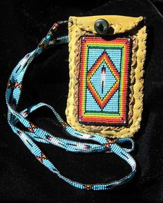 Rainbow, Diamond, Feather Beaded Bag on Deer Hide, Native American Inspired on Etsy, $154.57 CAD
