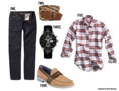 GentlemanStanding Style Board featuring #TOPMAN, #JBrand, #TAGHeuer, #ColeHaan, #ThomBrowne
