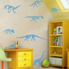 wow, I like the dino stencils. Ideas for his room...