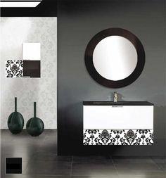 Mueble de baño suspendido con una elegante combinacion en blanco y negro basado en cristales decorados.
