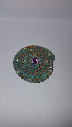 Anna Jasinska Brooch inspired Wabi Sabi. Corrugatin with patina, and amethyst
