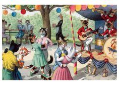 A Summer Cat Dance | Cat People Anytime Greeting Cards