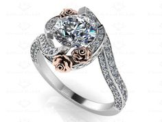 Sapphire Studios 'Le Rose' 1.55ct Round White Diamond Twist White/Rose Gold Engagement Ring