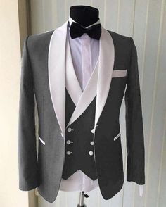 Men Gray with White Shawl Lapel Groom Tuxedo Formal Wedding Suit Blazer Custom Groom Tuxedo Wedding, Wedding Men, Wedding Suits, Wedding Tuxedos, Wedding Dinner, Wedding Poses, Formal Wedding, Trendy Wedding, Luxury Wedding