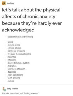 My symptoms: muscle aches, chronic fatigue, migraines, insomnia, and shortness of breath Chronic Fatigue, Social Anxiety Disorder Symptoms, All Mental Disorders, Social Anxiety Quotes, Bipolar Disorder Quotes, Physical Symptoms Of Anxiety, Anxiety Humor, Book Writing Tips, New Books