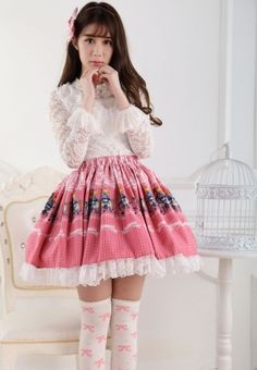 Pleated Customized Pink Knee-length Sweet Lolita Skirt with Concerts and Lace Lolita Fashion #Lovejoynet #Lolita